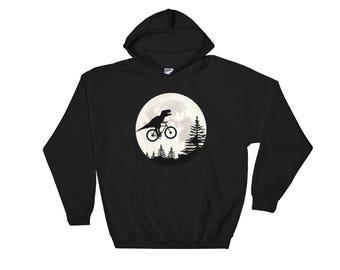 T-Rex Moon Hooded Sweatshirt, dinosaur, trex, t-rex shirt, t-rex tshirt, t-rex hoodie, dinosaur gift, hoodie, t rex hoodie, t-rex hoodie