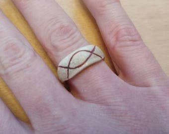 Size 8 ring made from deer antler