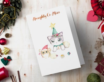 Printable Christmas Holiday Greeting Card - Watercolor Santa and Helper Painting - Digital Print Instant Download, Cute Xmas Card, Cat Mouse