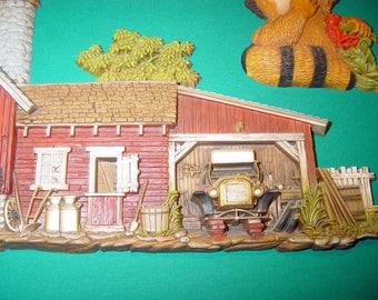 Mid Century Vintage 1974 Burwood Products #587 Barn & Barnyard Hanging Wall Plastic Plaque