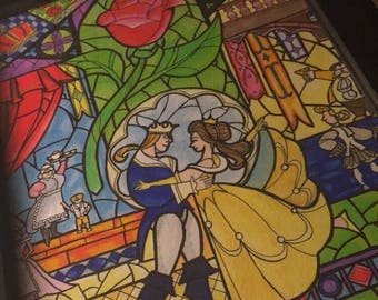 Beauty & The Beast - Stained Glass Window painting