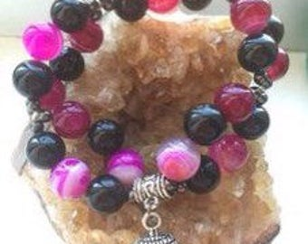Divine love Crystal Bracelet with pink agate, obsidian and hematite