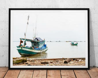 Old Fishing Boats Photo // Cambodia Travel Photography Print, Coastal Landscape Wall Art, Ocean Fisherman Home Decor, Anchored Asian Boat