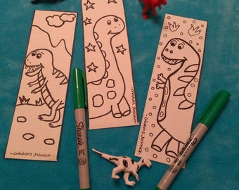 Bookmark coloring, page, coloring, dinosaurs party child