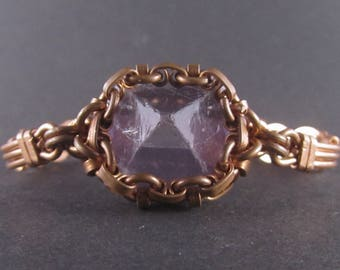 Copper bracelet with Amethyst pyramid