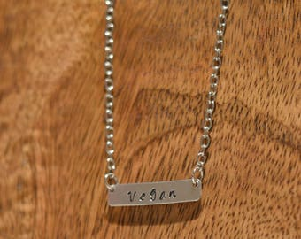 Vegan Metal Stamped Necklace