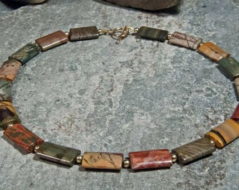Gemstone Necklace made of mookaite-jasper-with gold-plated 925 silver