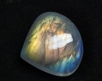 Rainbow Moonstone Heart Designer Cabochon,25x23x8 MM, Multi Flash Moonstone ,AAA, Loose Gemstone, Smooth Cabochon.