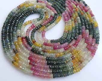 Multi Sapphire Roundel Beads, Size-3x3 to 4x4 MM, Natural Multi Sapphire Beads, AAA Quality,Faceted Bead, Natural Gemstone, 15.50 INCH