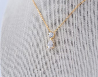 Stella Cubic Zirconia Necklace - Gold, CZ Bridal Necklace, Wedding Pendant Necklace, Crystal, Bridesmaid Necklace, Dainty Gold Necklace