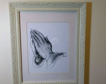 Praying Hands Drawing Print