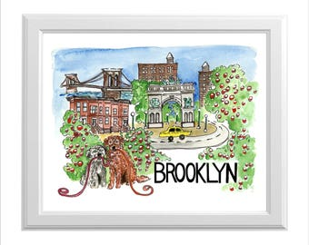 A Goldendoodle and a Havanese in Brooklyn Print