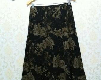 80's Vintage Floral Black Skirt