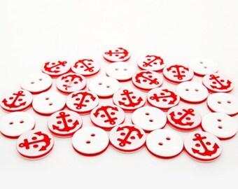 Red anchor button, navy style button, resin button, 10pcs