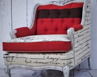 Vintage Hudson Bay & Script Bergere Accent Chair * French Farmhouse Country Rustic