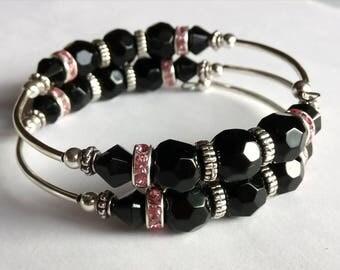Rock star, memory wire, black, crystal specer