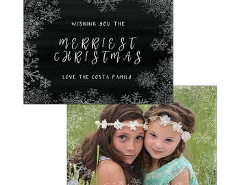 Snowflake frame chalkboard Christmas holiday card template photography digital printable custom