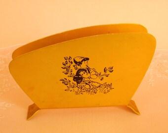 Vintage Metal Napkin Holder, Gold Tone Metal Napkin Holder Gold Napkin Holder,