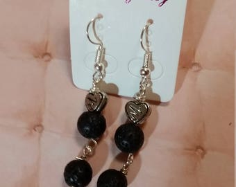 Lava bead earrings for essential oils