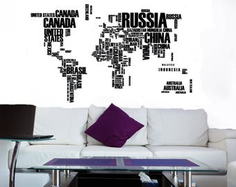 Map Wall Art, World Map Decal, World Map Mural, Map Wall Decal, Wall Decor Map, Wall Stickers, Map Wall Decor, Map Wall Sticker, Lettering
