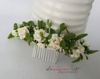 Wedding hair accessories Bridal hair comb Bridal hair accessories White rose comb Small rose comb Blush rose comb White floral comb