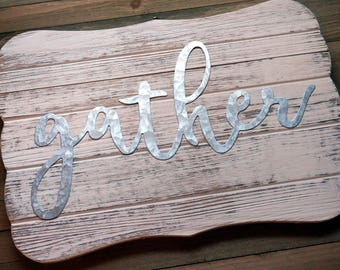 Gather Wood Sign | Rustic Wood Sign | Thanksgiving Sign | Dining Room Sign | Gather Wood Sign
