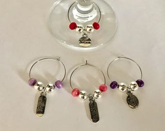 Pink and Purple Wine Glass Charms (Set of 4)