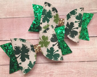 Clovers, Glitter Bows, Pigtails, St. Patty's Day
