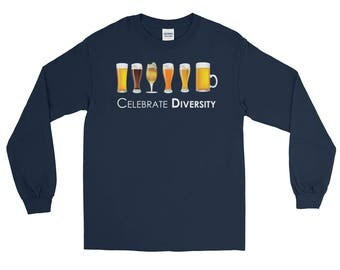 Beer Lover Celebrate Diversity Beer Mugs Funny Long Sleeve Unisex T-Shirt, Beer Lover Shirt, Funny Beer Shirt, Diversity Shirt, Beer Shirt