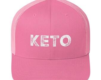 Keto Hat - Keto Trucker Hat - Ketogenic Baseball Hat - Keto Diet Ketones Trucker Cap - Pink Gift Ketosis Hat