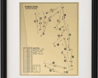 Torrey Pines Golf Course - South Course Outline (Print)