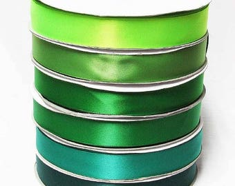 "Green 510-593 double faced satin ribbon By the 5 or 100 Yards Top Quality Silky Ribbon 3/8"",2/1"",7/8"",1"",1.5"",2"",2.5"",3"" YAMA 28800"