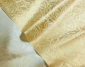 """Buttermilk Light Gold Rose Chinese Brocade Embroidered Fabric For Asian Silky Material 36""""Wide BR-711"""
