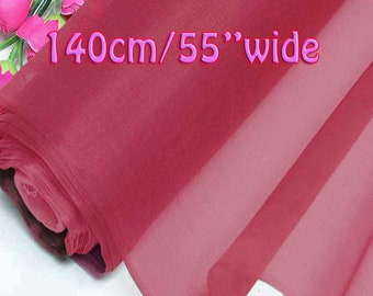 140cm Wide Azalea Pink 100% Real Mulberry Silk Organza Fabric Natural Silk Material (QI Za 20024W X Yards / Meters)