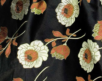 Huge Discount Chinese brocade satin fabric material dull gold lotus on black embroidered by the Yard cbs 28