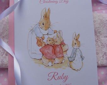 Handmade Personalised Christening / Naming / Baptism Card Flopsy and Peter Rabbit