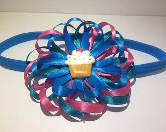 Cupcake Flower Headband Boutique Bow