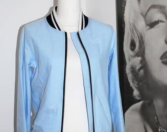 Hand-Embroidered Light Blue Bomber Jacket
