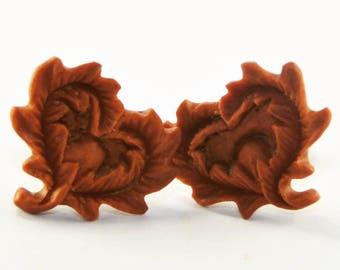 Leafy Heart Stirrup Earrings Stud Loop Posts - Sabo Wood