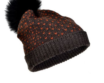 Merino Wool Hat Fur Pom Pom