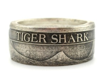Tiger Shark coin ring. Made from a .999  Pure silver coin