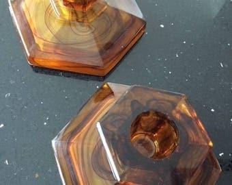Art Deco Amber Class Candlesticks