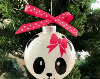 "Personalized Girl Panda Glass Ornament w/Hair Bow--Medium 3"" M&M Style"