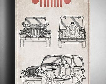 Vintage Jeep Patent Art - 11x14 inches - Instant Download