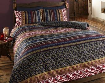 indian ethnic print reversible duvet quilt cover bedding set
