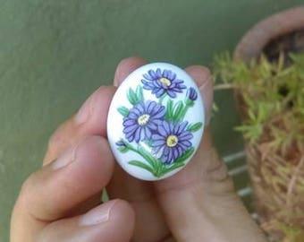 PIN ceramic vintage/pin vintage/pin flower flower/brooch vintage/pins vintage vintage vintage/brooch!