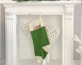 Personalized Christmas stockings, Family Christmas stocking, Traditional Knitted Christmas Stocking with handmade embroidery, Knit socks