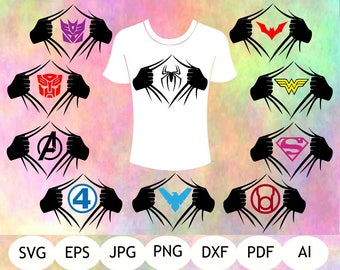 Super Hero Logo Hands SVG, Super Hero DXF, Super Hero PNG, Ai, Jpg, Pdf, Super Hero Printable, Digital Item, Instant Download