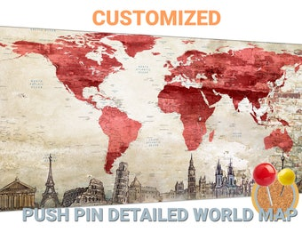 Red world map etsy red world map canvas red push pin world map red world map canvas wall art red gumiabroncs Gallery