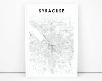 Syracuse Map Print, New York NY USA Map Art Poster, City Street Road Map Print, Nursery Room Wall Office Decor, Printable Map